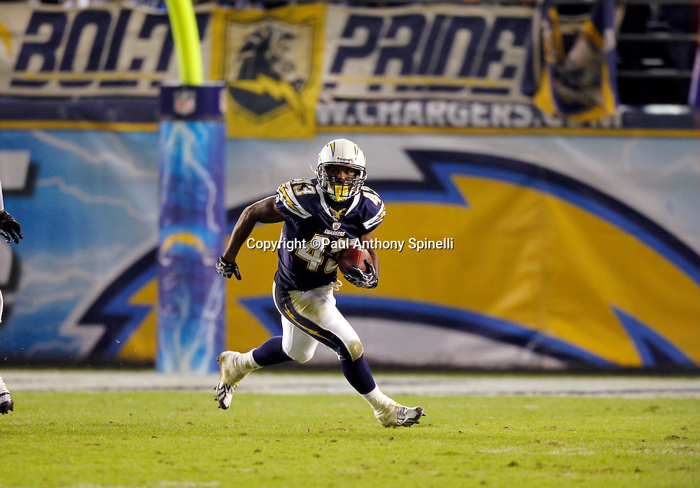 San Diego Chargers kick returner Darren Sproles (43) returns a kick during the NFL week 11 football game against the Denver Broncos on Monday, November 22, 2010 in San Diego, California. The Chargers won the game 35-14. (©Paul Anthony Spinelli)