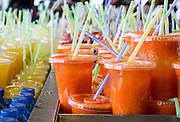 fresh and refreshing Fruit juice in plastic cups