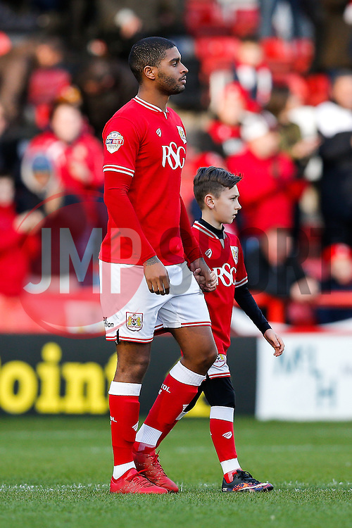 Mark Little of Bristol City leads a young masccot out onto the pitch - Mandatory byline: Rogan Thomson/JMP - 30/01/2016 - FOOTBALL - Ashton Gate Stadium - Bristol, England - Bristol City v Birmingham City - Sky Bet Championship.
