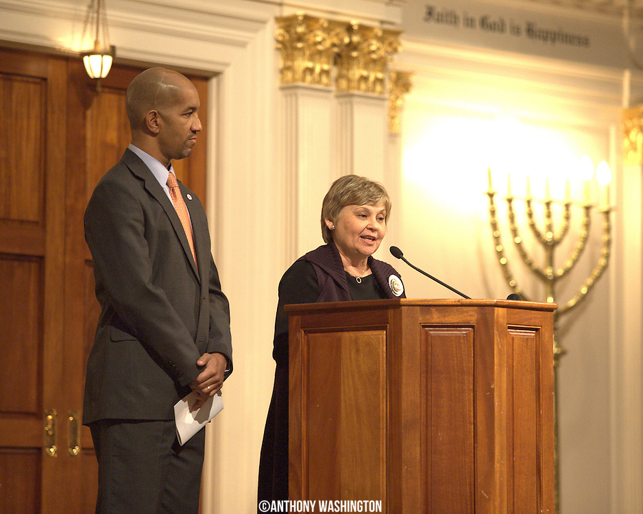 Esther Safran Foer, Director of Sixth & I, introduces D.C. Councilmen Sekou Biddle at the 7th Annual Dr. Martin Luther King, Jr. Shabbat at the Sixth & I Synagogue in Washington, DC on Friday, January 14, 2011.
