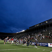 Members of the Boston Cannons walk off of the field following the game at Harvard Stadium on July 19, 2014 in Boston, Massachusetts. (Photo by Elan Kawesch)