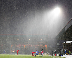 A general view of Spotland Stadium during a heavy snow shower - Photo mandatory by-line: Matt McNulty/JMP - Mobile: 07966 386802 - 17.01.2015 - SPORT - Football - Rochdale - Spotland Stadium - Rochdale v Crawley Town - Sky Bet League One