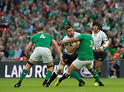 Wembley, Great Britain, Romanias', Valentin POPARLAN going for the gap between, left Donnacha RYAN and Nathan WHITE, during the Pool D Game, Ireland vs Romania.  2015 Rugby World Cup, Venue, Wembley Stadium, London, ENGLAND.  Sunday  27/09/2015 <br /> <br /> Mandatory Credit; Peter Spurrier/Intersport-images]
