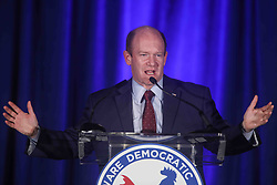 November 6, 2018 - Wilmington, Delaware, United States of America - Senator Chris Coons introduces Incumbent Democrat Lisa Blunt Rochester to the podium during Democrat Watch Party Tuesday, Nov. 06, 2018, at the Doubletree Hotel in Wilmington, Delaware. (Credit Image: © Saquan Stimpson/ZUMA Wire)