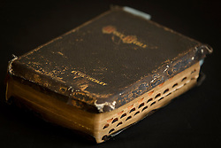 © Licensed to London News Pictures . 07/09/2012 . Manchester , UK . A personalised bible , given to Elvis Presley by his Uncle Vester and Aunt Clettes for Christmas in 1957 , which goes up for auction tomorrow (8th September) at Omega Auction House in Stockport . The bible is expected to fetch £20,000 . It will be auctioned alongside other pieces of Elvis memorabilia , including a pair of the King's underpants . Photo credit : Joel Goodman/LNP
