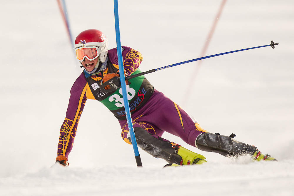 Christoph Lentz of Williams College, skis during the second  run of the men's slalom at the University of Vermont Carnival at Burke Mountain on January 26, 2014 in East Burke, VT. (Dustin Satloff/EISA)