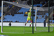 Wycombe Wanderers goalkeeper Scott Brown (1) can't stop the ball going over the line 1-0 during the EFL Sky Bet League 2 match between Coventry City and Wycombe Wanderers at the Ricoh Arena, Coventry, England on 22 December 2017. Photo by Alan Franklin.