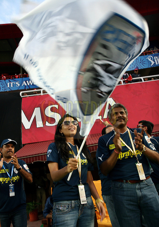Deccan Chargers owner Gayatri Reddy celebrate during match 67 of the Indian Premier League ( IPL ) Season 4 between the Kings XI Punjab and the Deccan Chargers held at the The HPCA Stadium in Dharamsala, Himachal Pradesh, India on the 21st May 2011..Photo by Money Sharma/BCCI/SPORTZPICS