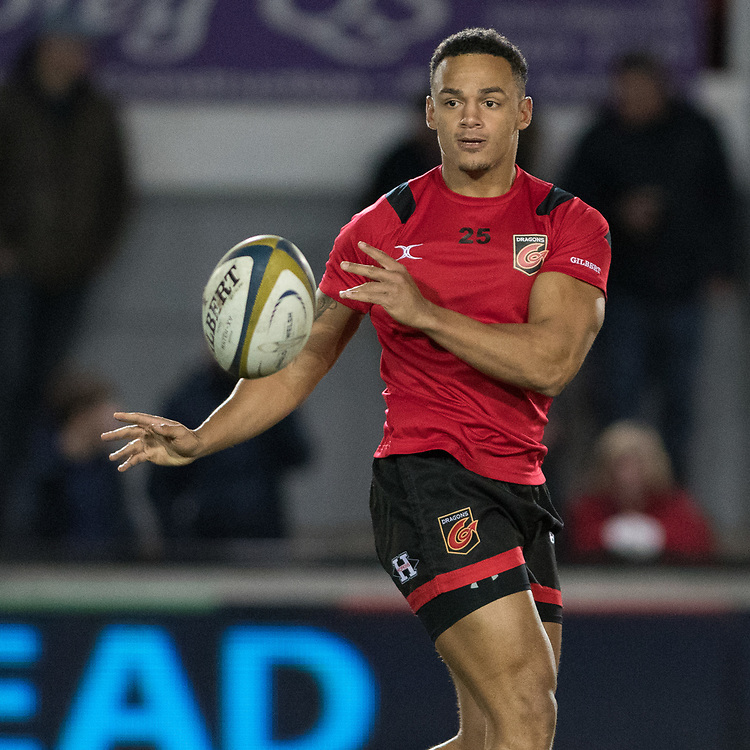 Dragons' Ashton Hewitt during the pre match warm up.<br /> <br /> Photographer Simon Latham/Replay Images<br /> <br /> Anglo-Welsh Cup Round Round 4 - Dragons v Worcester Warriors - Friday 2nd February 2018 - Rodney Parade - Newport<br /> <br /> World Copyright © Replay Images . All rights reserved. info@replayimages.co.uk - http://replayimages.co.uk