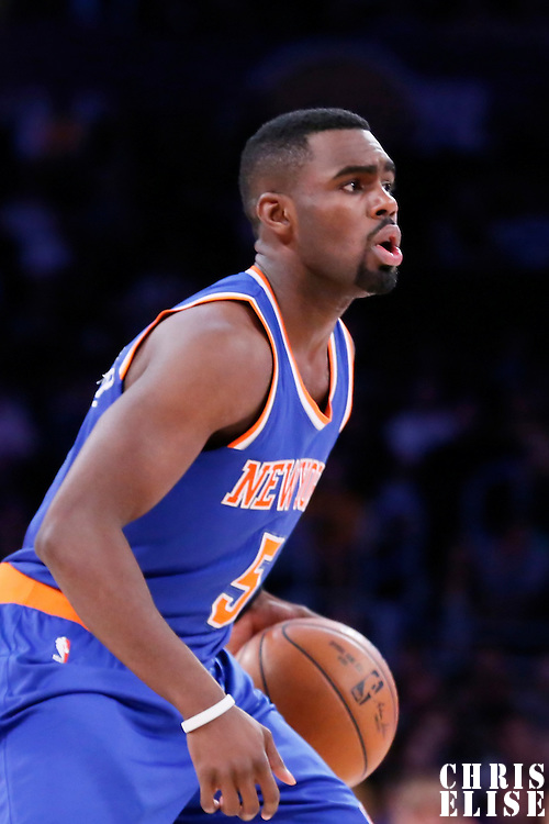 12 March 2015: New York Knicks guard Tim Hardaway Jr. (5) dribbles during the New York Knicks 101-94 victory over the Los Angeles Lakers, at the Staples Center, Los Angeles, California, USA.
