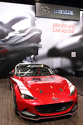 12 February 2015:  2016 Global MX5 Race Car.<br /> <br /> First staged in 1901, the Chicago Auto Show is the largest auto show in North America and has been held more times than any other auto exposition on the continent. The 2015 show marks the 107th edition of the Chicago Auto Show. It has been  presented by the Chicago Automobile Trade Association (CATA) since 1935.  It is held at McCormick Place, Chicago Illinois
