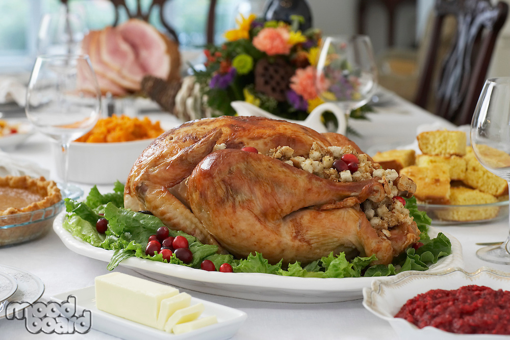 Thanksgivig dinner on table