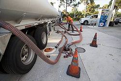 September 8, 2017 - Wellington, Florida, U.S. - A fuel truck from Port Everglades makes a delivery at the Mobil station at Forest Hill and Crestwood Friday morning in Royal Palm Beach, Florida.. (Credit Image: © Allen Eyestone/The Palm Beach Post via ZUMA Wire)