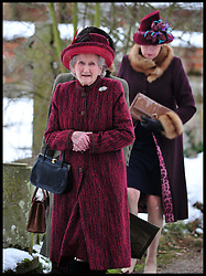 Margaret Rhodes (cousin of Queen Elizabeth II) attends Sunday Service along with Queen Elizabeth II at the Church of St Lawrence in Castle Rising near the Sandringham Estate on January 20, 2013 near King's Lynn, England. Photo: Andrew Parsons / i-Images