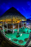 Toatea restaurant, Hilton Moorea Lagoon Resort, island of Moorea, French Polynesia.