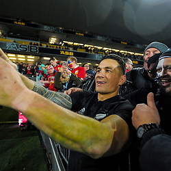 Sonny Bill Williams takes a selfie with fans after the 2017 DHL Lions Series rugby union match between the NZ All Blacks and British & Irish Lions at Eden Park in Auckland, New Zealand on Saturday, 24 June 2017. Photo: Dave Lintott / lintottphoto.co.nz