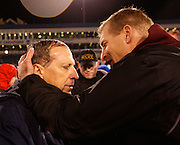 CHATTANOOGA, TN - DECEMBER 18:  Head coach Bobby Hauck of the Montana Grizzlies congratulates Villanova Wildcats head coach Andy Talley after the game at Finley Stadium on December 18, 2009 in Chattanooga, Tennessee.  The Wildcats beat the Grizzlies 23-21.  (Photo by Mike Zarrilli/Getty Images)