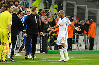 Colere Andre AYEW - 15.03.2015 - Marseille / Lyon - 29e journee Ligue 1<br /> Photo : Gaston Petrelli / Icon Sport