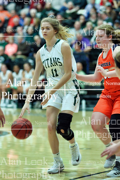 BLOOMINGTON, IL - December 15: Catie Eck during a college women's basketball game between the IWU Titans  and the Carroll Pioneers on December 15 2018 at Shirk Center in Bloomington, IL. (Photo by Alan Look)
