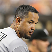 NEW YORK, NEW YORK - May 31:  Jose Abreu #79 of the Chicago White Sox in the dugout during the Chicago White Sox Vs New York Mets regular season MLB game at Citi Field on May 31, 2016 in New York City. (Photo by Tim Clayton/Corbis via Getty Images)