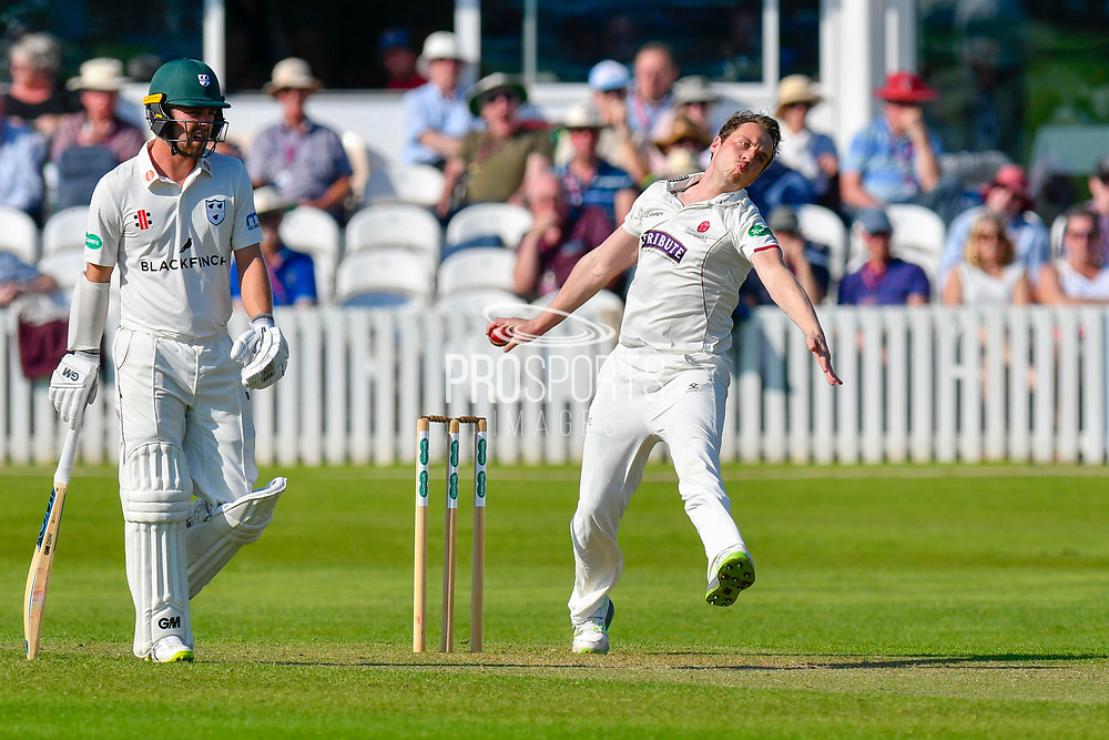 Josh Davey of Somerset bowling during the Specsavers County Champ Div 1 match between Somerset County Cricket Club and Worcestershire County Cricket Club at the Cooper Associates County Ground, Taunton, United Kingdom on 20 April 2018. Picture by Graham Hunt.