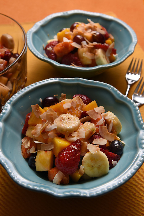 Leticia Moreinos Schwartz cooks two of her Brazilian recipes at home in Weston. Brazilian fruit salad.