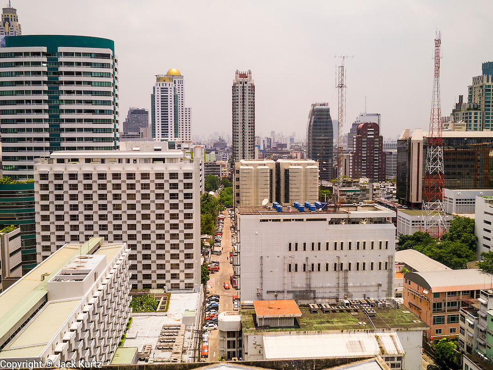 22 APRIL 2013 - BANGKOK, THAILAND:  The skyline of Bangkok looking north from the penthouse floor of the Maneeya Center.   PHOTO BY JACK KURTZ