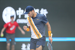 BEIJING , Oct. 1, 2018  Borna Coric of Croatia celebrates scoring during the men's singles first round match against Feliciano Lopez of Spain at China Open tennis tournament in Beijing, China, Oct. 1, 2018. Feliciano Lopez won 2-1. (Credit Image: © Song Yanhua/Xinhua via ZUMA Wire)