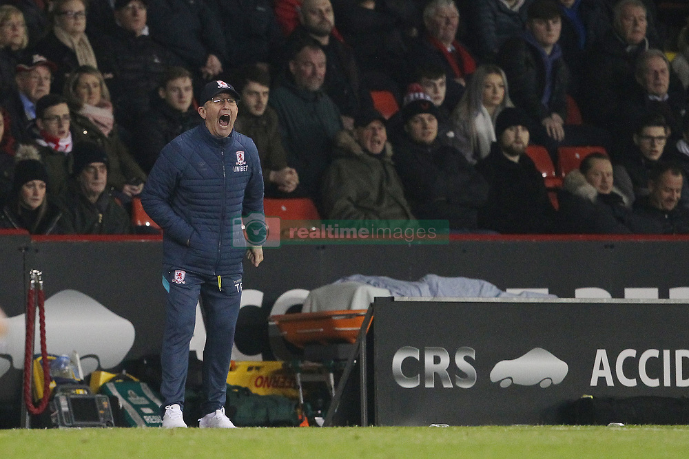 February 13, 2019 - Sheffield, South Yorkshire, United Kingdom - SHEFFIELD, UK 13TH FEBRUARY  Tony Pulis the Middlesbrough manager during the Sky Bet Championship match between Sheffield United and Middlesbrough at Bramall Lane, Sheffield on Wednesday 13th February 2019. (Credit: Mark Fletcher | MI News) (Credit Image: © Mi News/NurPhoto via ZUMA Press)