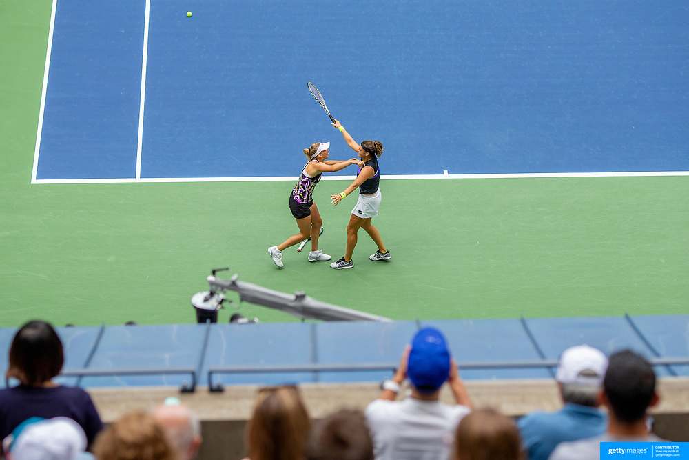 2019 US Open Tennis Tournament- Day Fourteen.  Elise Mertens of Belgium and Aryna Sabalenka of Belarus celebrate their victory against Victoria  Azarenka of Belarus and Ashleigh Barty of Australia in the Women's Doubles Final on Arthur Ashe Stadium during the 2019 US Open Tennis Tournament at the USTA Billie Jean King National Tennis Center on September 8th, 2019 in Flushing, Queens, New York City.  (Photo by Tim Clayton/Corbis via Getty Images)