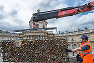 Paris city remove all the love locks on Pont des Arts bridge