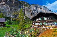 Waterfall, Lauterbrunnen Valley, Canton Bern, Switzerland