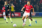 Salford City midfielder Lois Maynard in possession of the ball during the EFL Sky Bet League 2 match between Salford City and Macclesfield Town at the Peninsula Stadium, Salford, United Kingdom on 23 November 2019.