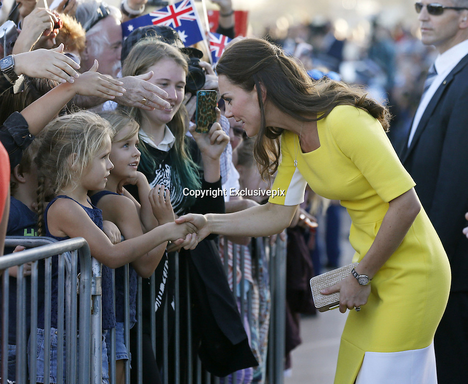 April 16, 2014 - Sydney, AUSTRALIA - <br /> <br /> Prince William and Kate, Duchess of Cambridge<br /> <br /> Britain's Kate, the Duchess of Cambridge, meets with people on the steps of the Sydney Opera House following a reception in Sydney, Australia, Wednesday, April 16, 2014. The royal couple, along with their son Prince George, are on a 10-day official visit.<br /> &copy;Exclusivepix