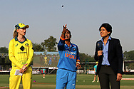 Meg Lanning captain of Australia and Mithali Raj captain of India during the toss of the second women's one day International ( ODI ) match between India and Australia held at the Reliance Cricket Stadium in Vadodara, India on the 15th March 2018<br /> <br /> Photo by Vipin Pawar / BCCI / SPORTZPICS