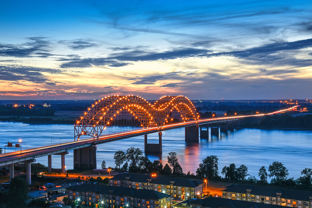 The Hernando de Soto Bridge crosses the Mississippi River between the city of Memphis and the state of Arkansas.  The bridge is named after the Spanish explorer who explored this stretch of the Mississippi River.