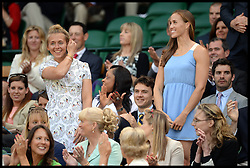 Great Britain's Olympic rowers Helen Glover and Sophie Hoskins,  in the royal box at The Wimbledon Tennis Championships<br /> The All England Lawn Tennis Club, Wimbledon, United Kingdom<br /> Saturday, 29th June 2013<br /> Picture by Andrew Parsons / i-Images