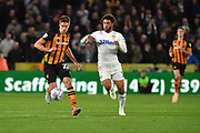Hull City midfielder Markus Henriksen (22) and Leeds United forward Tyler Roberts (11)   during the EFL Sky Bet Championship match between Hull City and Leeds United at the KCOM Stadium, Kingston upon Hull, England on 2 October 2018.Photo. Ian Lyall