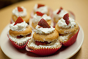 Strawberry Shortcake cupcakes made by Ohio University student Karris Barclay, baker and owner of Krave it! cupcakes. Barclay, a freshman from Akron majoring in Special Education, began baking as a stress-reliever in high school.