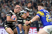 Hull FC hooker Danny Houghton (9) looks to break through during the Betfred Super League match between Hull FC and Leeds Rhinos at Kingston Communications Stadium, Hull, United Kingdom on 19 April 2018. Picture by Mick Atkins.