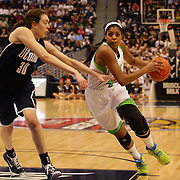 Ariel Braker, Notre Dame, drives to the basket past Breanna Stewart, Connecticut, during the Connecticut V Notre Dame Final match won by Notre Dame during the Big East Conference, 2013 Women's Basketball Championships at the XL Center, Hartford, Connecticut, USA. 11th March. Photo Tim Clayton