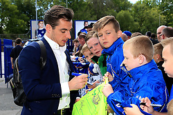 Everton's Leighton Baines signs autographs for fans on arrival at Goodison Park  - Mandatory byline: Matt McNulty/JMP - 15/05/2016 - FOOTBALL - Goodison Park - Liverpool, England - Everton v Norwich City - Barclays Premier League