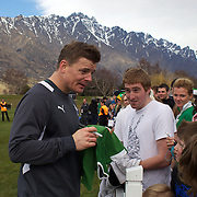 Brian O'Driscoll signing autographs for fans at he Irish team training session at The Queenstown Events Centre in preparation for the IRB Rugby World Cup. The team are based in Queenstown for the early part of the tournament.  Queenstown, New Zealand, 4th September 2011. Photo Tim Clayton...