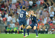 Wembley, Great Britain,..Description: USA  N0. 10 Carli LLOYD, runs over to team mate Kelly O'HARA after scoring her second goal in the second half, of the 2-1 USA victory over Japan. 2012 London Olympic , Women's Football, Gold Medal Match at Wembley Stadium, USA vs Japan, .. ..20:54:47  Thursday  09/08/2012 [Mandatory Credit: Peter Spurrier/Intersport Images].