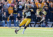 October 22, 2011: Iowa Hawkeyes kicker Mike Meyer (96) kicks the ball off during the first half of the NCAA football game between the Indiana Hoosiers and the Iowa Hawkeyes at Kinnick Stadium in Iowa City, Iowa on Saturday, October 22, 2011. Iowa defeated Indiana 45-24.
