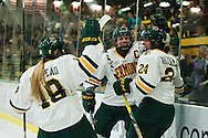 Vermont celebrates a goal during the women's hockey game between the New Hampshire Wildcats and the Vermont Catamounts at Gutterson Field House on Friday night February 3, 2017 in Burlington. (BRIAN JENKINS/for the FREE PRESS)