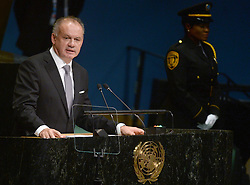 Slovakia's President Andrej Kiska addresses the 71st session of the United Nations General Assembly at the UN headquarters in New York City, NY, USA, on September 20, 2016. Photo by Dennis van Tine/ABACAPRESS.COM