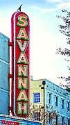 Georgia, Savannah, Savannah Theater, Neon Marque, Chippewa Square