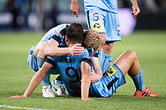 SYDNEY, NSW- NOVEMBER 21: Sydney FC forward Bobo (9) and Sydney FC midfielder David Carney (17) celebrate at the FFA Cup Final Soccer between Sydney FC and Adelaide United on November 21, 2017 at Allianz Stadium, Sydney. (Photo by Steven Markham/Icon Sportswire)