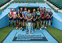 Football - 2019 / 2020 Gallagher Premiership Rugby - New Season Launch Media Photocall<br /> <br /> (From l to r), Harlequins' Mike Brown, Gloucester Rugby's Danny Cipriani, Saracens' Alex Goode, Exeter Chiefs' Don Armand, Bath Rugby's Rhys Priestland, Leicester Tigers' Tom Youngs, Worcester Warriors' Francois Hougaard, London Irish' Blair Cowan, Bristol Rugby's Nathan Hughes, Northampton Saints' Tom Wood, Wasps' Dan Robson, Sale Sharks' Chris Ashton, at Twickenham.<br /> <br /> COLORSPORT/ASHLEY WESTERN